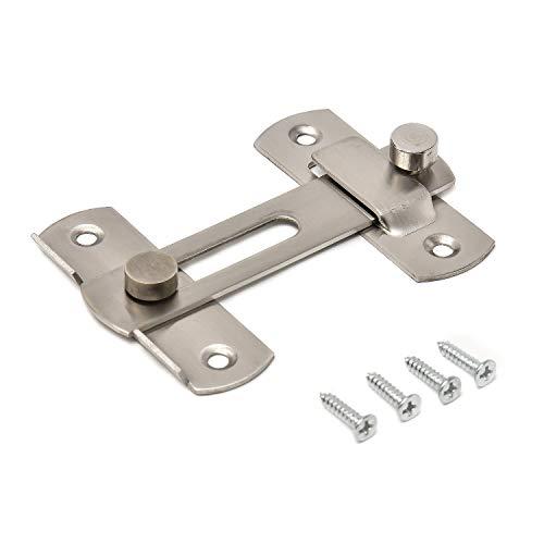 ドアロック& ネジ 8個セット (ステンレス製) [ 後付けタイプ / 本体は2個入り ] 引き戸 鍵 (スライド式) 引き戸用鍵 スライドロック 窓ロック とびらロック 内鍵 引き戸鍵 【phoenixJ】 (180度留め金タイプ)