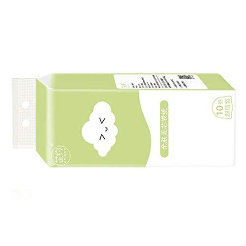 WARMWORD 10 Rollos Rollos Sanitarios para el hogar Toallas de Papel Especiales sin núcleo asequibles Papel higiénico Papel higiénico Papel higiénico de 4 Capas Papel Suave para la Piel