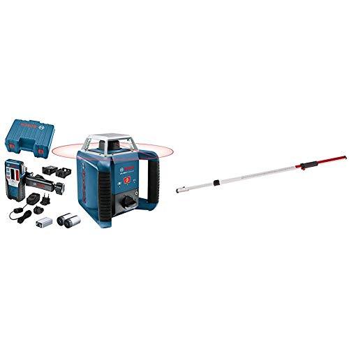Bosch Professional GRL 400 + LR 1 - Nivel láser giratorio (batería de NiMH, alcance Ø 400 m, receptor, en maletín) + Regla graduada para nivel láser y óptico (2,4 m, extraíble, en caja)