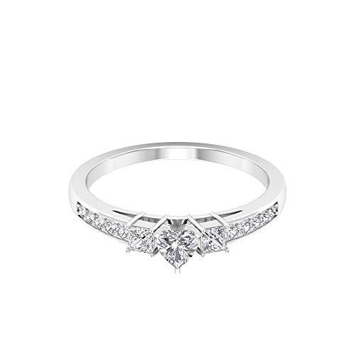 Anillo solitario de diamante en forma de corazón de 0,65 quilates, único anillo de aniversario de boda, certificado SGL, anillo de diamante de corte princesa, 14K Oro blanco, Diamante, Size:EU 67