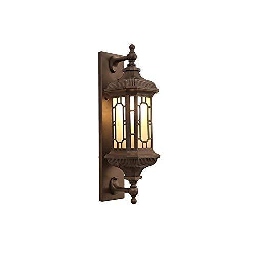 ZAKRLYB Impermeable al aire libre lámpara de pared lámpara de cristal E27 helada patio patio exterior pared lámpara colgante del hotel pasillo iluminación lámpara villa entrada entrada decorativa ilum