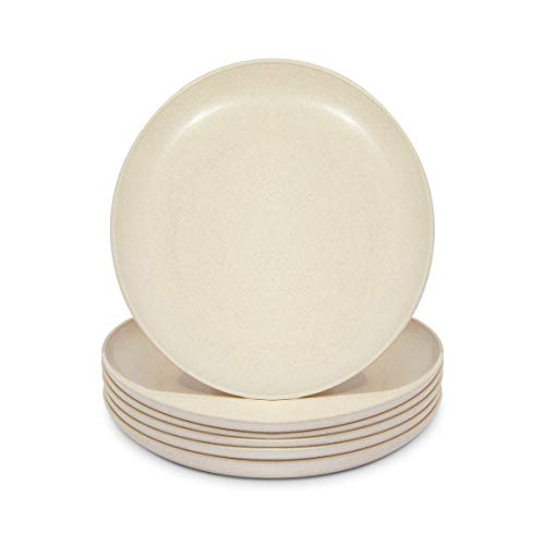Wheat Straw Plates, Unbreakable Dinner Plate (Beige, 8 In, 6 Pack)