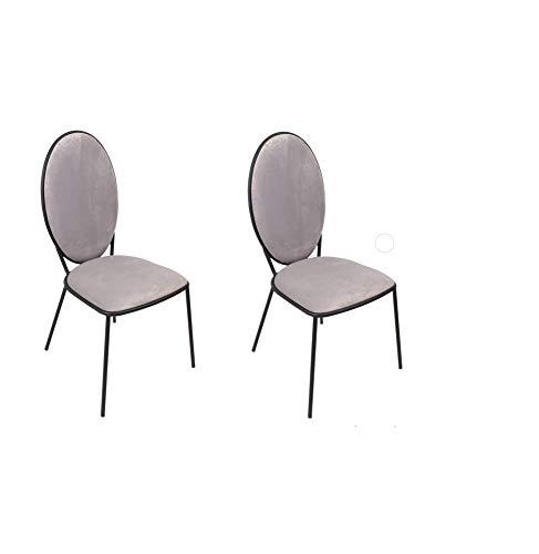 Maisonetstyles - Lote de 2 sillas medallón (51 x 52,5 x 96 cm), Color Gris Claro