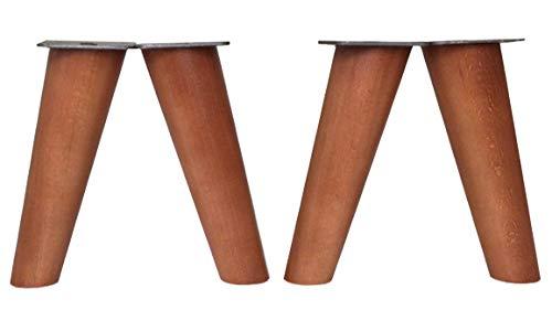 patas para muebles de madera. Patas inclinadas cónicas con placa de montaje ya instalada patas de madera para sofas mesitas armarios 15 cm alto (Cerezo)