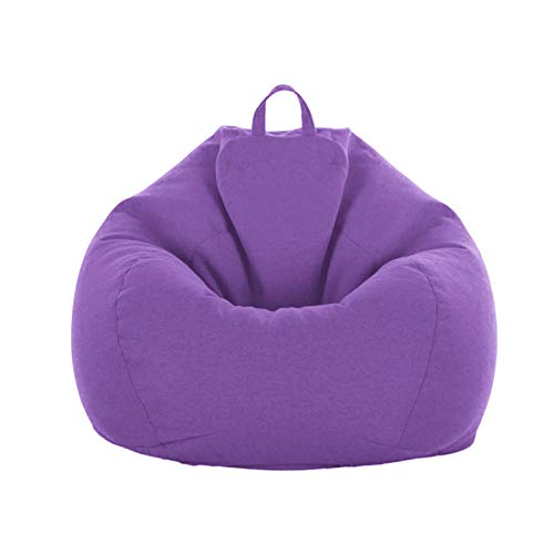 """Soft Bean Bags Sofa Chairs Cover for Adults, Teens and Kids Indoor Outdoor, Garden Lounge Dorm Room, No Filler (Purple, 31.5"""" x 27.6'')"""