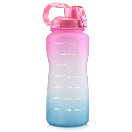 Motivational Water Bottle Half Gallon 64 Oz with Time Marker and Straw Leakproof Tritan BPA Free Large Water Jug for Fitness Gym and Outdoor Sports