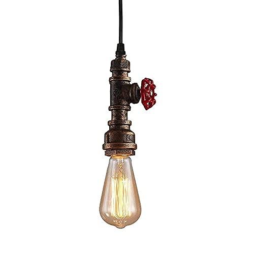 BINHC Lámpara de Techo de Araña, Lámpara Colgante de Metal Retro de Hierro Vintage, Lámpara Colgante de Techo Rústica Steampunk Creativa, Tubería de Agua Industrial, Iluminada por Edison