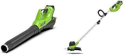 Greenworks - Cortador de césped de batería G40LT y aspiradora-soplador de follaje GD40BV, Li-Ion 40V 30cm ancho corte 280 km/h Regulación velocidad del aire no incluye batería ni cargador