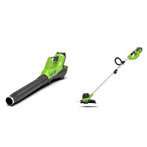 Greenworks 40V Akku-Axial-Laubbläser (ohne Akku und Ladegerät) - 2400807+ Akku-Rasentrimmer G40LT (verstellbarere Zusatzhandgriff Alu-Führungsholm Flowerguard ohne Akku und Ladegerät)