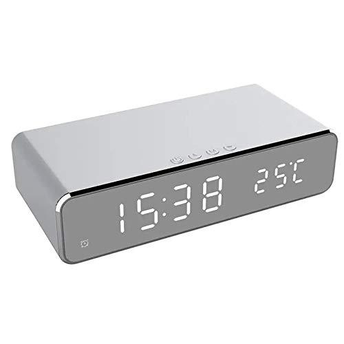 WWWL Despertador USB Digital 12/24H LED Despertador de Escritorio Cargador Inalámbrico para Samsung Xiaomi para Huawei iPhone 8 X para Apple Termómetro