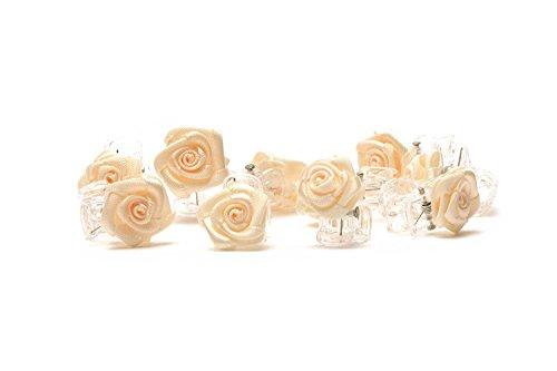 10 x Haarklammern Röschen - Brauthaarschmuck - Rosen Haarklammer - beige