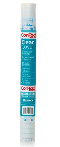 Con-Tact Brand Clear Adhesive Protective Liner to Cover Books and Documents, 13.5-Inches x 5-Feet (05F-C7R100-12)