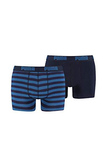 Puma Lot de 2 boxers pour homme Rayures 1515 Bleu Taille S