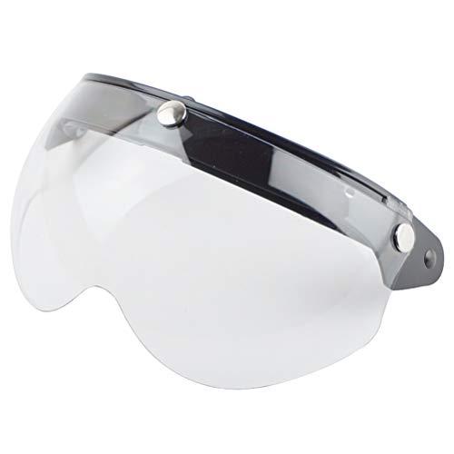 Breale - Visiera universale antivento per casco da moto con aletta anteriore Flip Up 3 Snap Sun Shield semi viso di ricambio