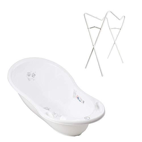 Tega Baby ® Bañera ergonómica de 86 cm, juego de 3 piezas con estructura plegable + tapón para drenar el agua, bañera para bebés de 0 a 12 meses, diseño de búho, color blanco, soporte blanco