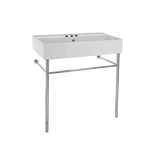 Scarabeo 8031/R-80-CON-Three Hole Teorema Rectangular Ceramic Console Sink and Polished Chrome Stand, White