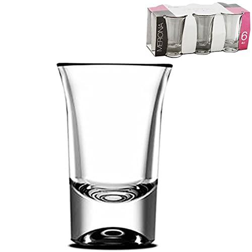 Juego de 6 vasos de chupito de cristal 4 cl, modelo merona,...