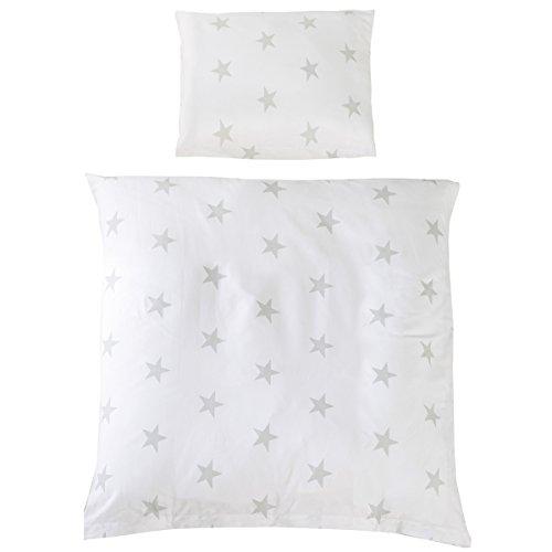 2 teiliges Wiegenset Little Stars Kopfkissen- und Bettdeckenbezug - Baby Bettwäsche Decke Kissen Kinder Stuben Wagen Wiege Sterne