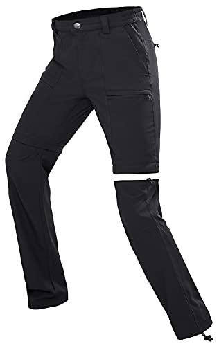 Wespornow Damen-Zip-Off-Wanderhose-Trekkinghose Atmungsaktiv Schnell Trockend Outdoorhose Abnehmbar Funktionshose Stretch Sommer Hosen (Licht Schwarz, S, s)