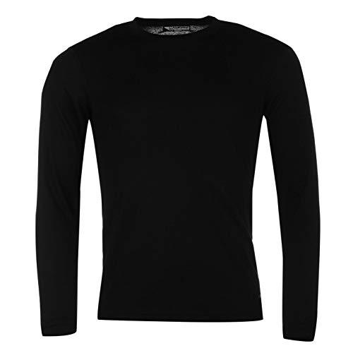 Campri Herren Thermal Baselayer Shirt Thermo Langarm Funktionsshirt Atmungsaktiv Schwarz Large