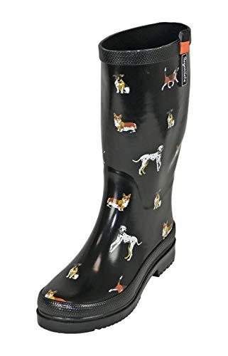 Regenliebe Damen Gummistiefel Waldi Langschaft Regenstiefel Hunde Motiv, Farbe:schwarz, Größe:38 EU