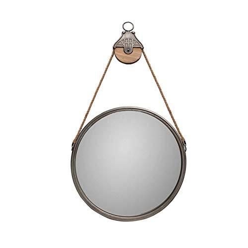 Decoración del hogar Espejos Espejo Retro, Espejo Con Angustia Redondo Suspensión Sala De Estar Dormitorio Dormitorio Metal Baño Maquillaje Mirmón 53.5 * 102cm Espejos de baño(Size:53.5*102CM)