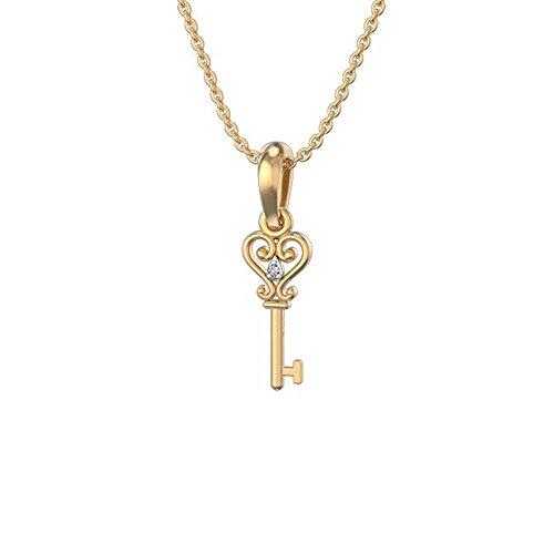 Zilvercartvila 9ct Geel Goud Over Zilver 1.2CT Rond Gesneden Clear CZ Diamant Hartje Sleutel Hanger Met Ketting