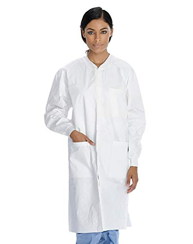 AMZ White Disposable Lab Coats Pack of 10 Large 0.15 mm SMS Lab Coats Knee Length Lab Coats Adult Unisex Lab Coats with Long Sleeves Knit Collar Knit Cuffs 3 Pockets