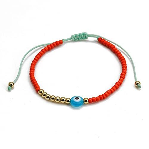 Pulsera de cuentas de ojo malvado turco multicolor, cuerda trenzada, pulsera ajustable con cuentas, joyería para mujeres, niñas, hombres, pulsera ajustable