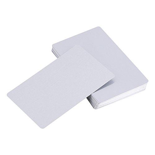50 Stück Splitter Sublimation Metall Visitenkarten, Gravierte Metall Visitenkarten Sublimation Rohlinge 3,4x2,1 Zoll Dicke (0,30 mm)(Silber)