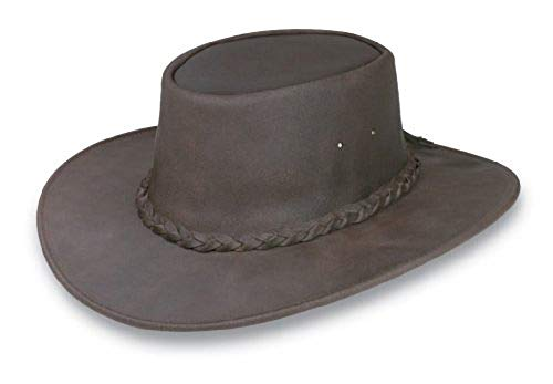 Minnetonka Men's Foldable Leather Hat Dk Brown Large
