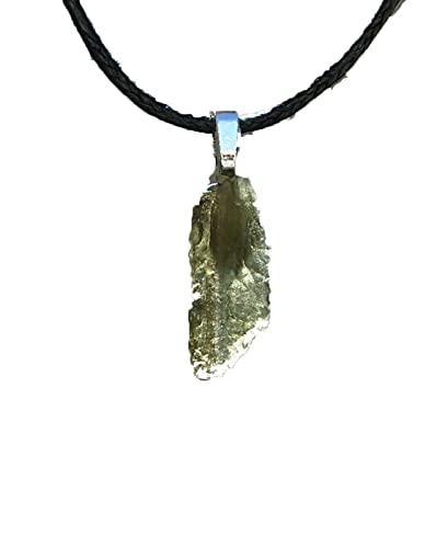 Top 2021 - Collar de Moldavita, joyería de Moldavita cruda, collar de moldavita natural, envoltura de alambre de meteorito con piedras preciosas verdes de Moldavita checa, Moldavita cruda