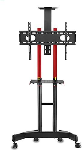 Soporte de rodadura para televisor LCD de plasma OLED de 32 a 70 pulgadas, 75 kg, con bandeja, altura ajustable, máximo 600 x 400 mm, negro/rojo