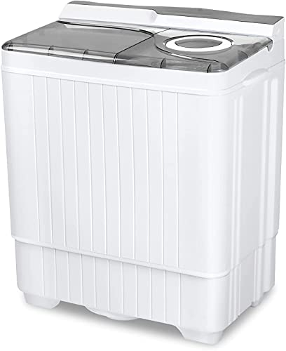 Portable Mini Washing Machine, Small Compact Washer Dryer Combo, Apartment 2 in 1 Twin Tub Washers with Drain Pump and Time Control for Laundry, Dorms, College, RV, Camping (Gray)