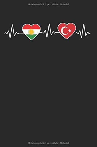 Kurdistan Türkei Herzschlag: Kurdistan & Türkei Notizbuch 6'x9' Kurdische Geschenk für Kurdisch & Flagge