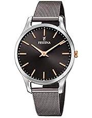 FESTINA Reloj Modelo F20506/3 de la colección Boyfriend Collection, Caja de 34 mm Negro con Correa de Acero Gris para señora