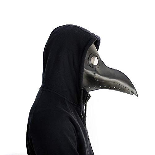 chivalrylist Máscara de Pico Falsa Piel Plaga Doctor Máscara Disfraz de Halloween Cosplay Steampunk Costume para Adulto Negro-uno tamaño