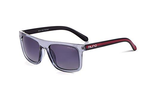Miuno 1016 - Occhiali da sole polarizzati, unisex, unisex, confezione regalo e panno per occhiali grigio. Taglia unica