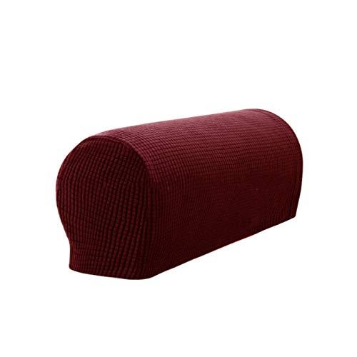2 Stück Sofa-Armlehnenbezug, rutschfest, Spandex-Polyester, Sofa-Stuhl-Armlehnen-Abdeckung, Möbel-Armlehnen-Schutz, schmutzabweisend, staubabweisend, kratzfest (weiß/rot/grau/schwarz) (rot)