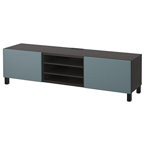 IKEA BESTA - TV Bank met laden zwart bruin / valviken grijs-turquoise