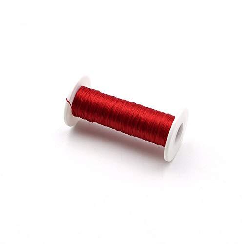 QURIURJ Línea de monofilamento de 50 metros de caña de pescar para construcción de hilo de hilo de enrollado, hilo trenzado de poliéster (color: rojo)