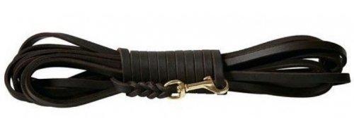 Fettlederleine 5m schwarz mit Chrom Haken, Schleppleine aus Leder für Hunde (5m x 8mm)