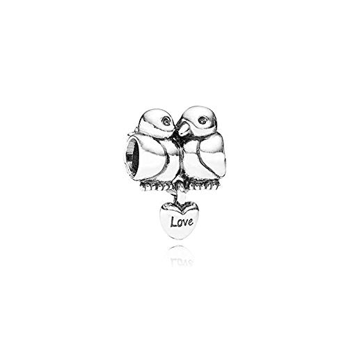 ARTCHARM Love Birds w/Dangling Heart Charm - 925 Sterling Silver Pendant Beads - Fit for DIY Charms Bracelets