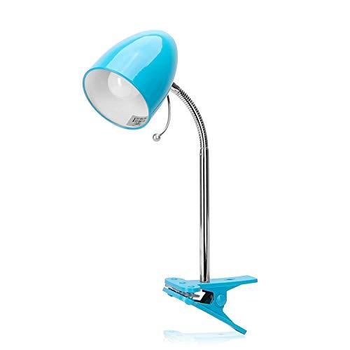 Aigostar - Flexo LED Escritorio con Pinza, E27(Max 11W), Cable 1,5 m con Interruptor, H35cm, Bombilla No Incluida, Azul
