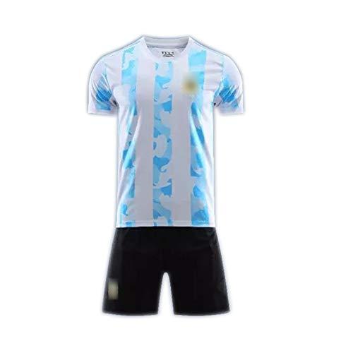 Messi # 10 Argentinien Heimtrikots Männerfussball Trikot, Kinder und Religer Sportswear Fußball Trikot, hochwertige Stoffe und schnell trocknendes T-Shirt, S-XXL-WhiteBlueA-XS