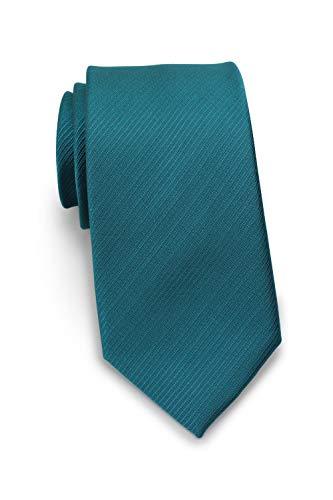 Puccini Schmale Krawatte mit feiner Linien-Struktur, einfarbig, 27 verschiedene Farben, Mikrofaser, Handarbeit, 7 cm Slim Tie (Petrol)