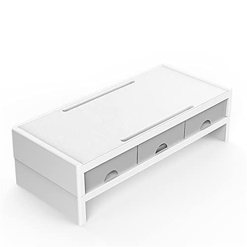 WDBBY Soporte para Monitor multifunción Soporte Vertical para Escritorio con Organizador de Caja de Almacenamiento de 3 cajones para PC portátil de Oficina en casa (Color : Gray, Size : Double)
