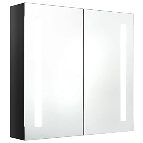 vidaXL Armario de Baño con Espejo LED Aseo Inodoro Muebles Mobiliario Tocador Botiquín Almacenamiento Estante Decoración Negro Brillante 62x14x60 cm