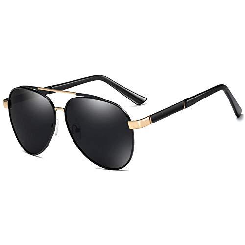 YHKF Gafas De Sol Polarizadas Clásicas De Piloto para Hombre, Gafas De Sol Polarizadas De Gran Tamaño Vintage para Hombre, Gafas De Conducción para Pesca-Black_Grey