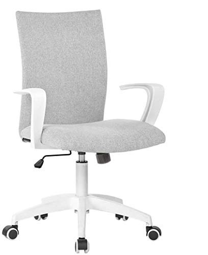 Office Desk Chair with Arms and Adjustable Height, Home Computer Task Chair for Work Space, Grey & White
